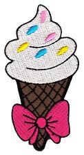 bk43 Eistüte Eiscreme Eis Schleife Aufnäher Bügelbild Flicken Patch 4,1 x 8,2 cm