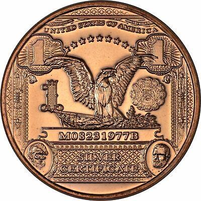 1 oz Copper Round $1 Black Eagle Note