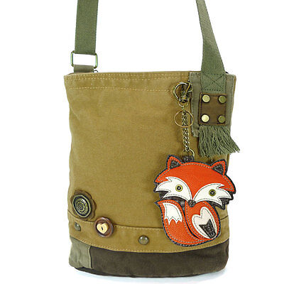New Chala Handbag Patch Crossbody FOX BROWN Bag Canvas gift Messenger  Fun Gift