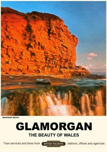 Vintage Style Railway Poster Monknash Beach Glamorgan South Wales A4//A3//A2 Print