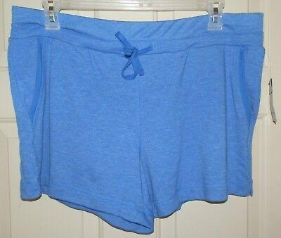 New Womens 1X 16W-18W Blue Knit Shorts Terra /& Sky Front Pockets Elastic Waist