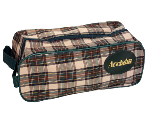 "ACCLAIM Mull Shoe Boot Bag Green Cream Plaid Zipped 14/"" x 6/"" x 5/"" MRRP £5-99"