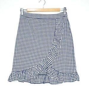 Tokito Womens Navy and White Check High Waisted Mini Ruffle Skirt Size 8