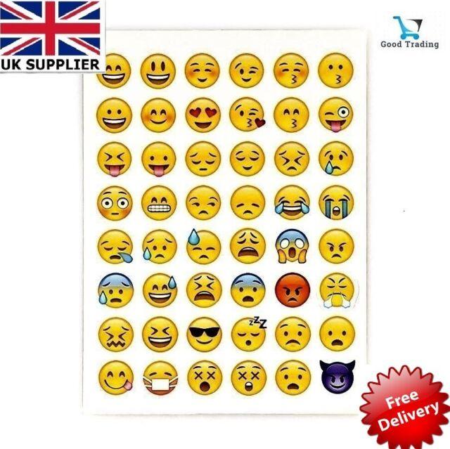 1 Sheet Of 48 Emoji Emoticon Smiley Face Stickers Genuine Pp Uk