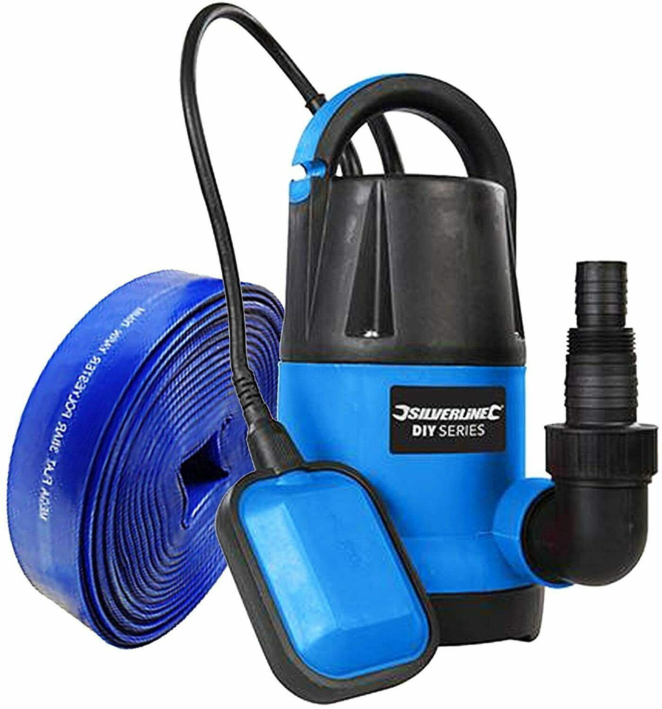 250W Water Submersible Pump 5000 Litres Per Hour + 10m X 25mm Blue LF Hose