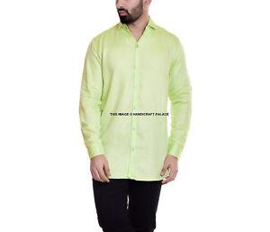 Homme Vert Uni Chemise Coton Riche Col Classique Habillé Décontracté Long Manche