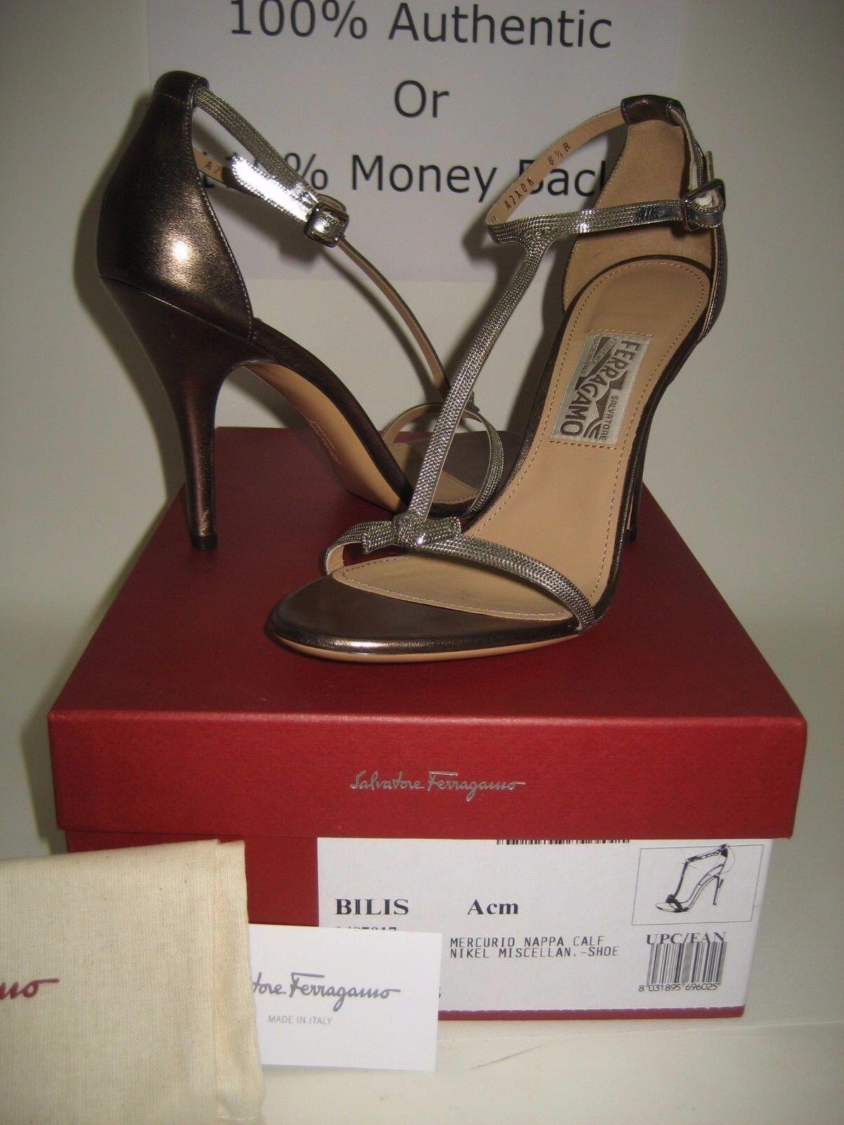Nuevos zapatos de salón Salvatore Salvatore Salvatore Ferragamo bilis Cuero Metálico t-trap Sandalias Tacones Zapatos  barato y de moda
