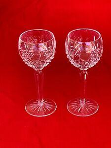 """Pair of Waterford Crystal Kenmare Ptrn 7 3/8"""" tall Hock Wine Stem Glasses NICE"""