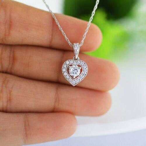10k or Blanc FN 1.10 CTW Diamond Women/'s Hearts Shape collier pendentif pièce.