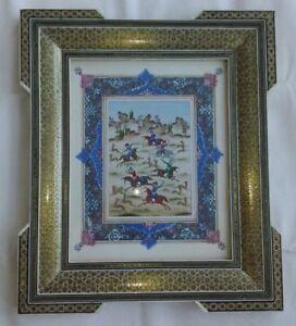 Persian-Khatam-Inlaid-Frame-Persian-Miniature-Hand-Paint-Micro-Mosaic-Marquetry