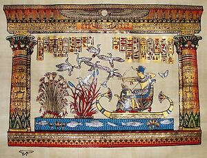 Egyptian-Hand-painted-Papyrus-Artwork-King-Tut-Hunting-Birds-16-034-x-12-034-SIGNED