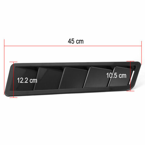 One Pair Set 2Pc 17.7X4.8 Inchs Universal Hood Vents Louver Panel Trim Black ABS