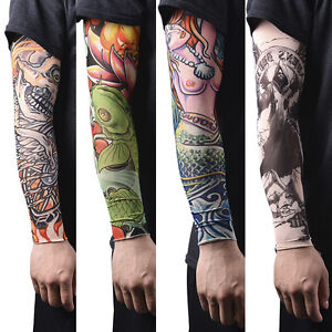 2pcs Men Women Elastic Fake Cool Temporary Tattoo Long Sleeves Arm Stockings Buy One Get One Free Women's Arm Warmers