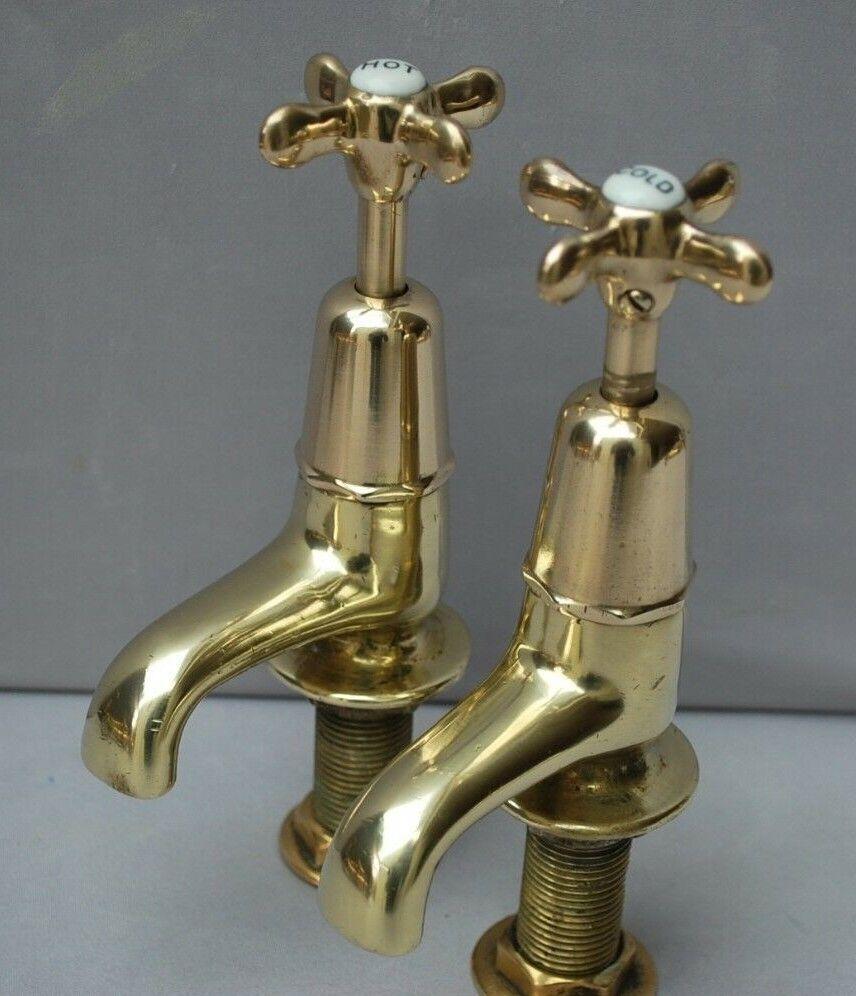 Vieux laiton salle de bains Basin robinets Reclaimed & entièrement remis à neuf ANCIENS ROBINETS