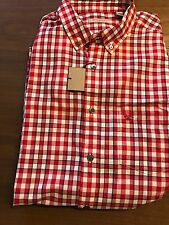 New Authentic Burberry Small Red Check Plaid Knight Chest Men Shirt XL $265
