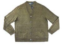$185 Polo Ralph Lauren V neck Linen Button Sweater Cardigan Jacket S M L XL XXL