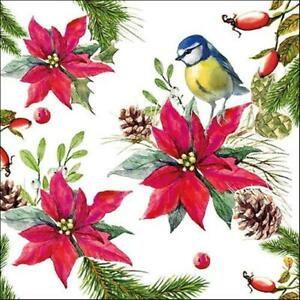 20-Bleu-Noel-Mesange-Poinsettia-Floral-Glands-3-Epaisseur-Serviette-Fete