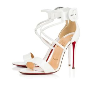 ece4ace1b34 Details about New Christian Louboutin Choca 100 Patent Ankle Cross Strap  Latte Sandal Size 38