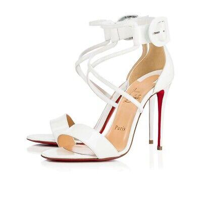 buy popular 55233 7b72f New Christian Louboutin Choca 100 Patent Ankle Cross Strap Latte Sandal  Size 38 | eBay