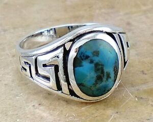 Men-039-s-925-STERLING-SILVER-Greek-Key-Turquoise-ring-size-11-style-r2304