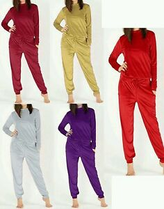 c20fc852952 Image is loading Ladies-Velour-Velvet-Loungewear-2-Piece-Womens-Tracksuit-