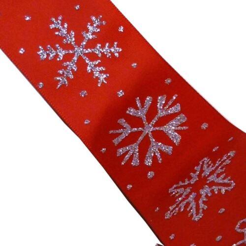 2 mètres * Red Satin Simple Face 38 mm ruban avec Argent Paillettes Flocons de neige