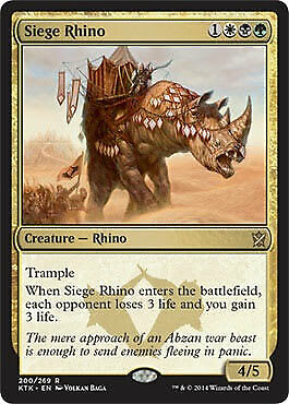 Rare Siege Rhino Foil Near Mint MTG Magic Khans of Tarkir