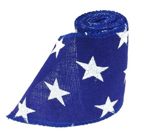 Blue Patriotic Burlap Ribbon w// White Stars Print 5 inch x 5 yards