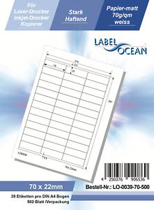 500 Blatt Klebeetiketten DIN A4 weiß 70x22mm Laser Inkjet Kopierer