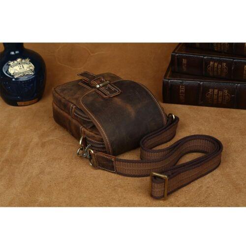 Men/'s Leather Small Shoulder Sling Bag Sports Running Waist Belt Bag Fanny Pack