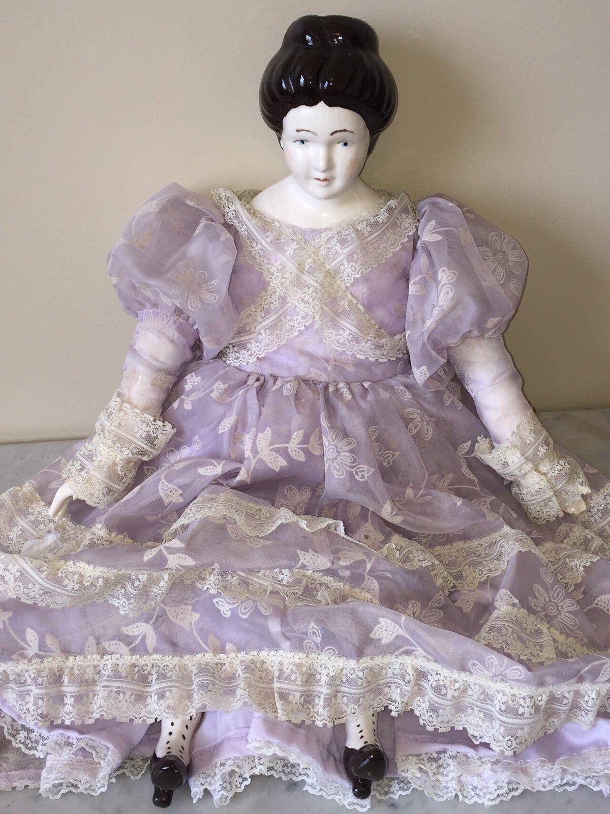 Vestido de encaje hecho A Mano Pintado Vintage Muñeca de porcelana con paño de cuerpo, viejo - 23  De Alto