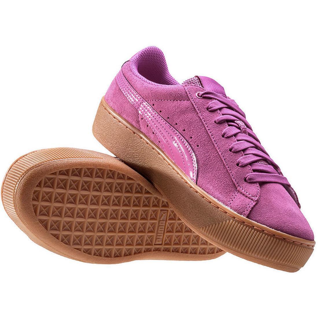Puma Violett Vikky Plateau Turnschuhe Rosa Violett Puma Damen Wildleder-Schuhe Zum Schnüren b9eb6c