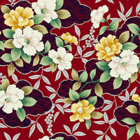 Maywood Studios Fabric Shiki Asian Flowers On Red Quilting Sewing Crafting