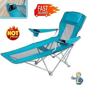reclining folding camping chair with footrest stool beach chaise lounge outdoor. Black Bedroom Furniture Sets. Home Design Ideas