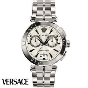 Versace-VE1D00319-Aion-Chronograph-silber-Edelstahl-Armband-Uhr-Herren-NEU