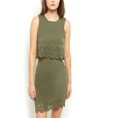 New Look Khaki Double Layered Dress Size 6 8 10 12 14 16 18 (D12)