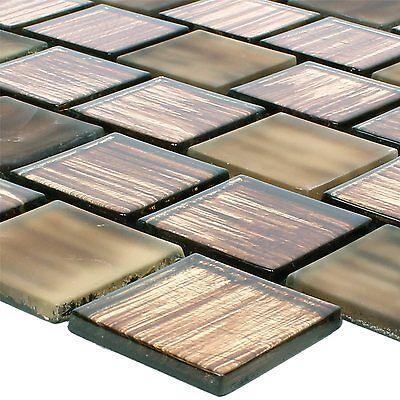 Glasmosaik Fliesen Lanzarote Braun Gestreift 8mm