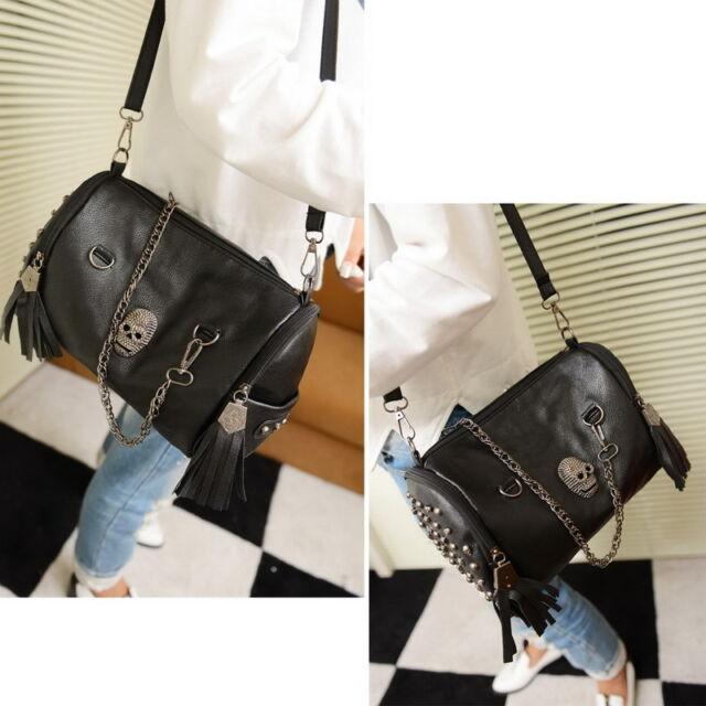 New Women Bag Skull Rivet Tassels Handbag Crossbody Shoulder Satchel Tote Purse
