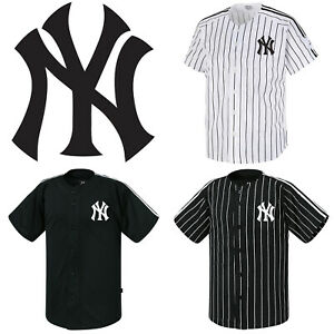promo code efff4 fd50c Details about NY New York Yankees Button Jersey Striped Baseball Open  T-Shirt Uniform Tee 0110