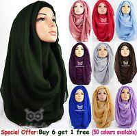New Large Oversize Maxi Plain Viscose/Rayon Scarf Hijab Wrap Sarong Kaftan Abaya