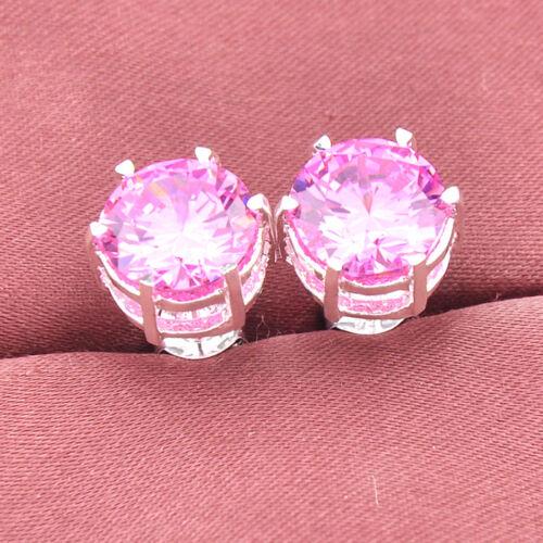 Roman Femme Bijoux Cadeau Natural Pink Topaz Gems Argent Massif Boucles d/'oreilles Clou