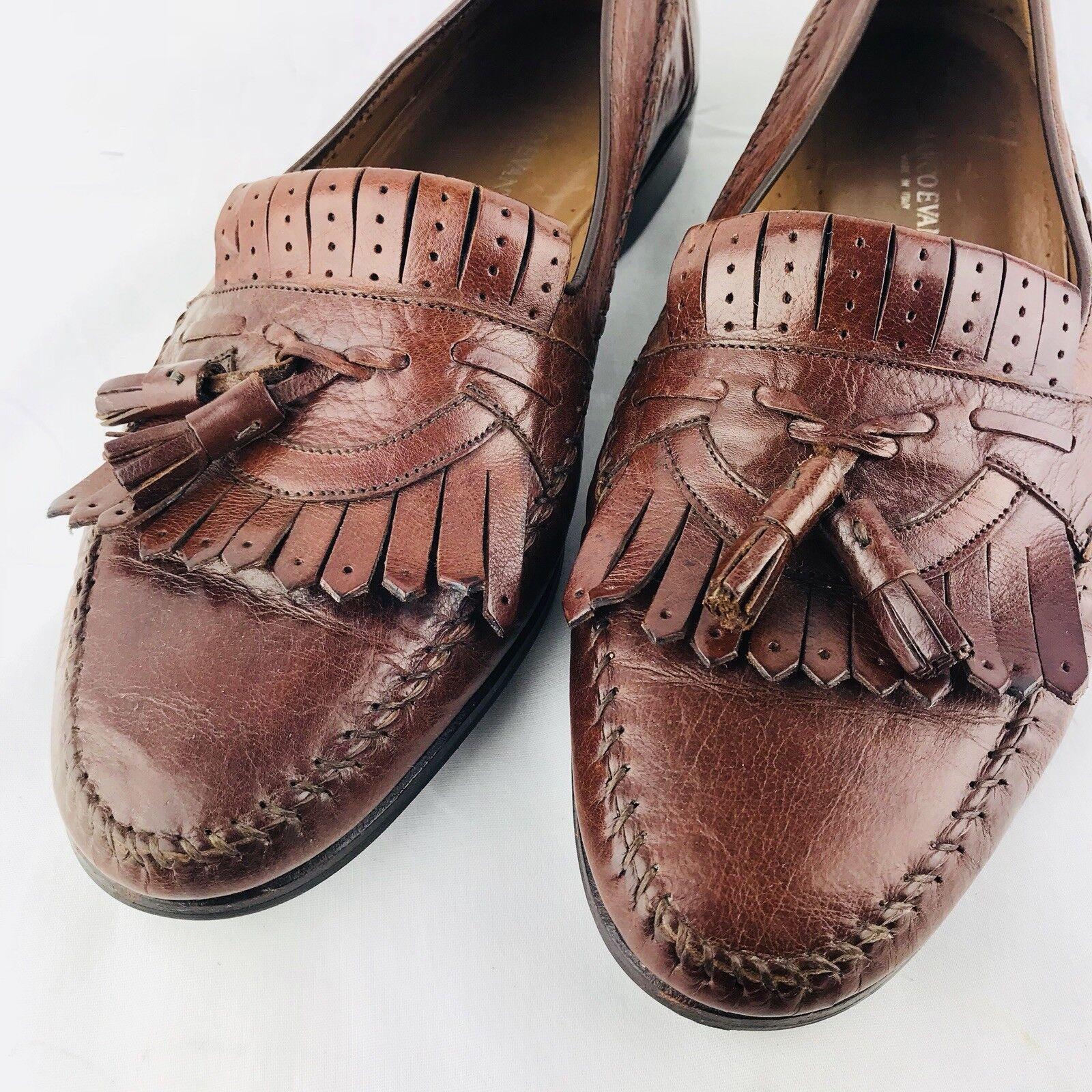 Zapatos de vestir marco Evani 11.5 para hombre de cuero marrón ternegro 45 Mocasines Con Borlas De Italia