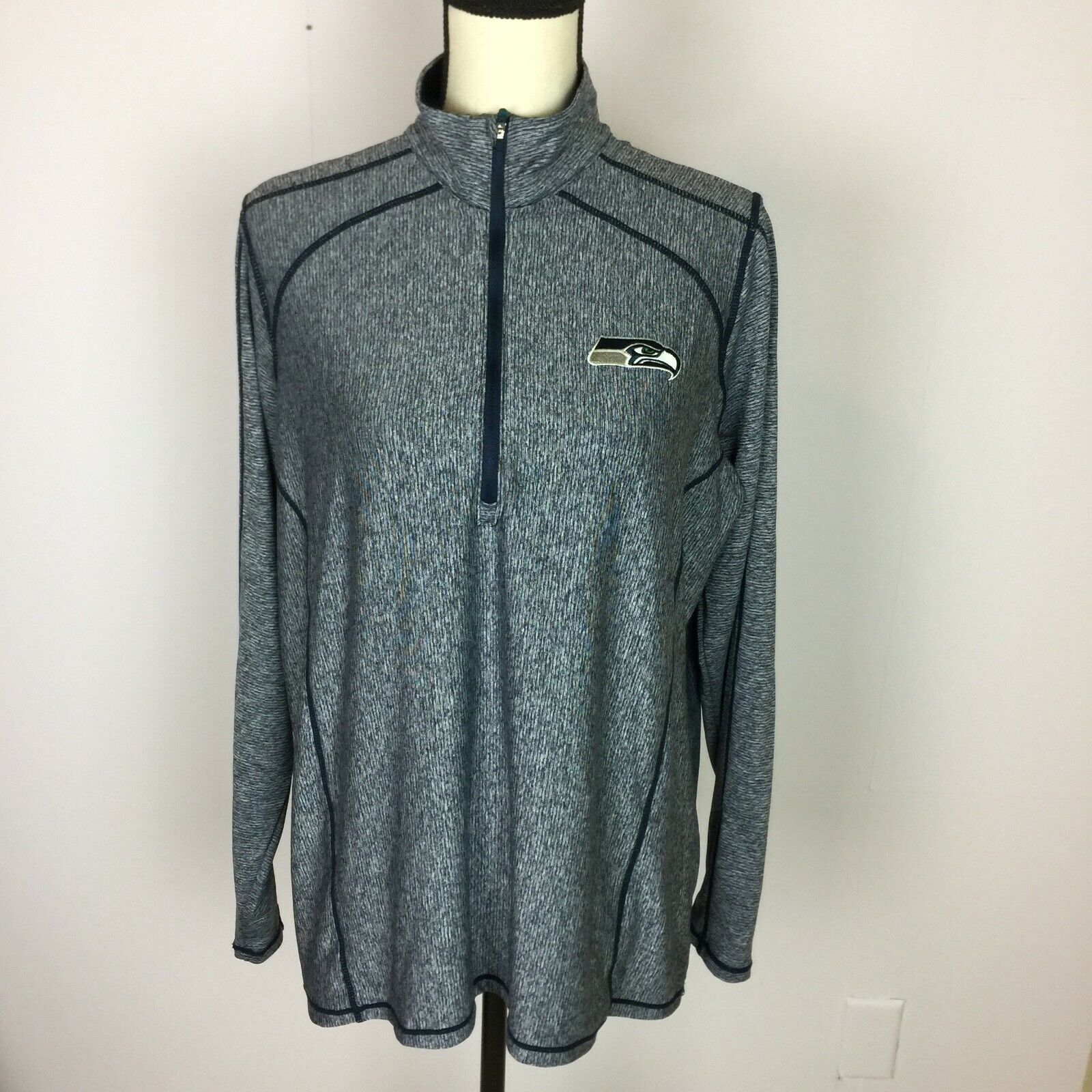 ANTIGUA Womans Sz XL Seattle Seahawks Pullover Blue and Gray Jackets 1/4 Zip A7