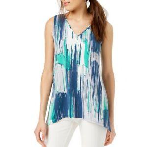 ALFANI-NEW-Women-039-s-V-Neck-Handkerchief-Hem-Blouse-Shirt-Top-TEDO