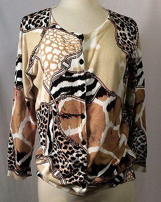 JOSEPH A. qu'est-ce quec'est silk - Girraff Zebra Leopard RAYON Cardigan Sweate