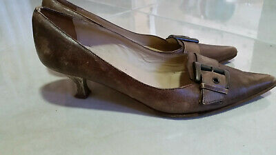 Pre-owned Migliorini Italy Kitten Heel Womens Leather Shoes Size 36 /us 6 Brown Quality And Quantity Assured Women's Shoes