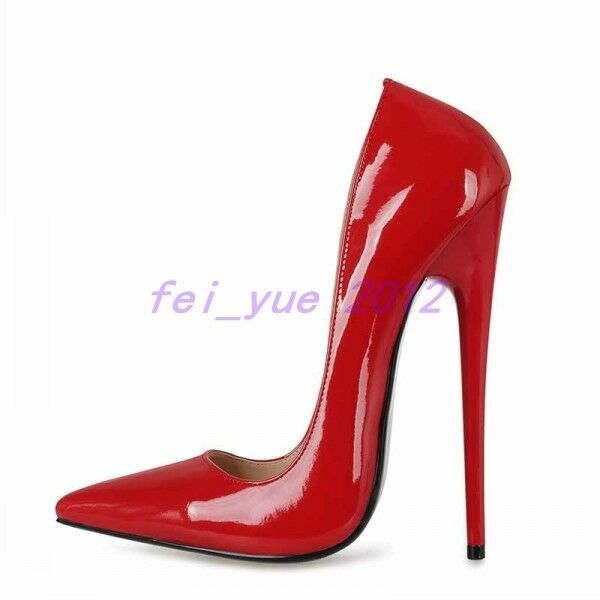 donna Super High Heel Patent Leather Night Club Pump Pointed Toe Stiletto scarpe