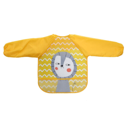 Baby Bibs Infant Cloths Long Sleeve Waterproof Feeding Animals Pattern