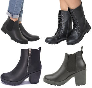 Womans-Chelsea-Ankle-Black-Zip-Grip-Soles-Chunky-Festival-Boots-Flat-High-Heel