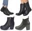 Womans-Chelsea-Ankle-Black-Zip-Grip-Soles-Chunky-Festival-Boots-Flat-High-Heel thumbnail 1